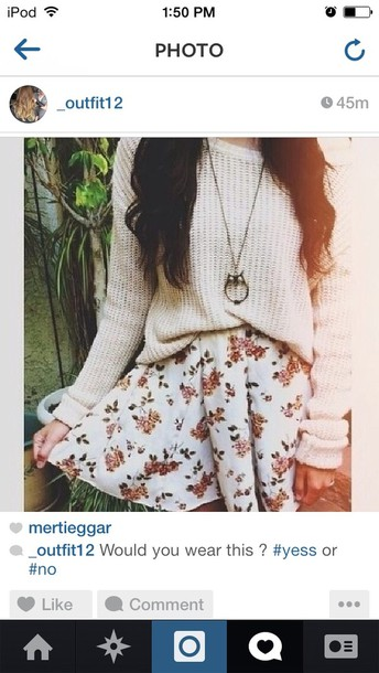 skirt floral sweater jewels floral skirt shirt cute white dress knitted sweater jumper knitwear knitted sweater cream necklace flowers hippie pretty flowers flower skirt sweater floral skirt cute skirt floral prints gold gold necklace swester oversized sweater lovely spring spring trends owl necklace floral skirt vintage floral wihte owl chain skater skirt jeans clothes crochet girly hipster tumblr sweater tumblr outfit cute outfits cute sweaters cute skirt winter sweater fall outfits boots white floral skirt knit loose baggy casual soft comfy pintrest so fall outfits winter outfits white skirt red floral cardigan floral skater skirt blouse sommer colorful floral skater skirt floral dress white dress indie cute white skirt with roses
