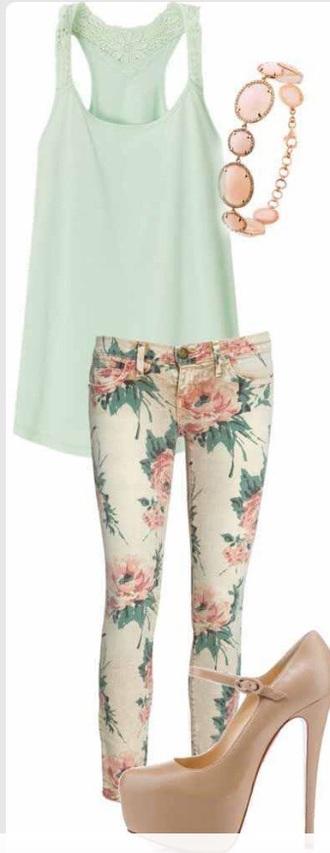 pants floral pants floral flowered shorts mint mint shirt mint tank nude pumps nude high heels nude blouse shoes