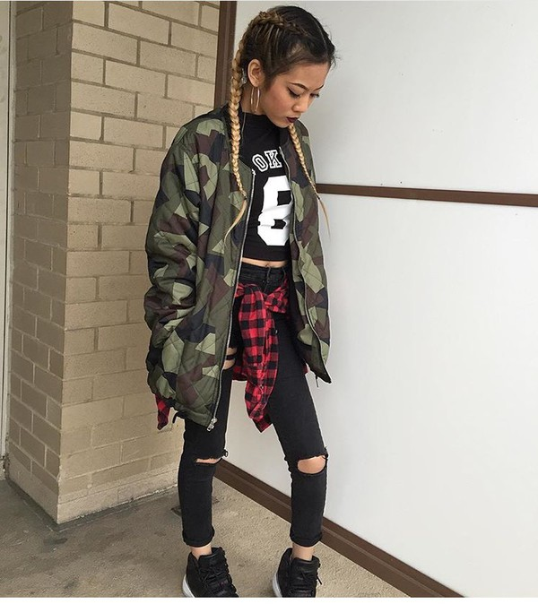 Jacket camouflage camo jacket bomber jacket tips for Green camo shirt outfit