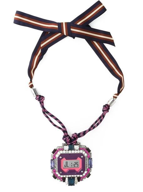 lanvin watch pendant purple pink jewels