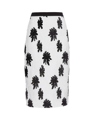 skirt floral silk white