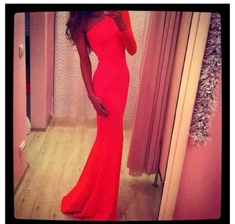dress red dress one shoulder one sleeve maxi dress long dress