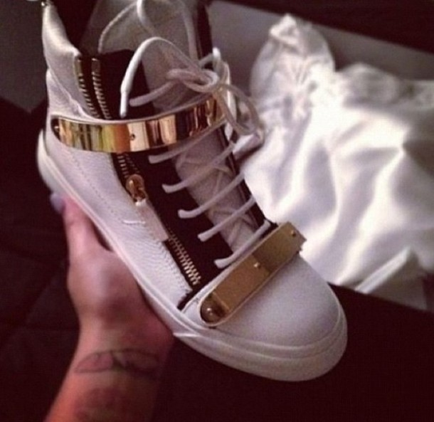 shoes hightop gold goldplated white sneakers white urban streetstyle streetwear