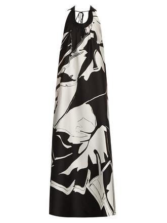gown jacquard cotton silk white black dress