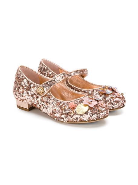 Dolce & Gabbana Kids flats leather purple pink shoes