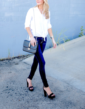krystal schlegel blogger blouse bag shoes button up white top long sleeves shoulder bag black bag skinny jeans thick heel black heels office outfits blue jeans platform sandals sandals high heel sandals sandal heels black sandals spring outfits
