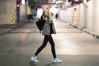 meri wild blogger zebra print pom pom beanie sweater jacket pants hat shoes make-up
