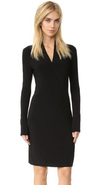 Norma Kamali Long Sleeve Side Draped Dress - Black