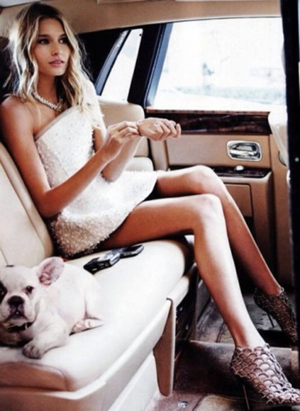 dog hair blonde necklace jewels shoes high heels girl gorgeous tanned skin gown pet