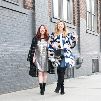tf diaries blogger jacket dress socks shoes bag sunglasses sweater jeans boots silver dress t-shirt dress handbag crossbody bag faux fur coat