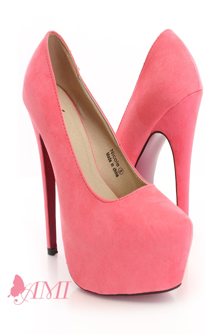 Coral Faux Suede Pink Bottom Sexy Pump Heels @ Amiclubwear Heel Shoes online store sales:Stiletto Heel Shoes,High Heel Pumps,Womens High Heel Shoes,Prom Shoes,Summer Shoes,Spring Shoes,Spool Heel,Womens Dress Shoes,Prom Heels,Prom Pumps,High Heel Sandals,