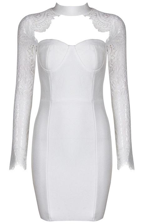 Lace Long Sleeve Bustier Bandage Dress White
