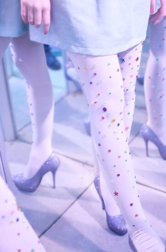 leggings jewel kawaii nice coloured colorful stockings pretty diamonds shoes mirrors red blue green white