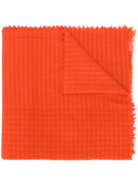 faliero sarti women jacquard scarf silk wool yellow orange