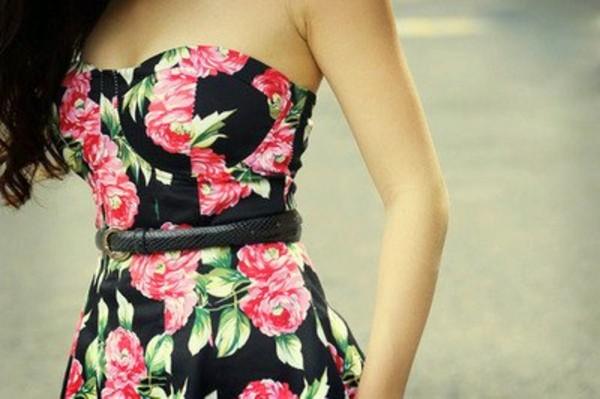 dress strapless floral black pink green floral dress bustier floral black pink strapless dress sexy dress short