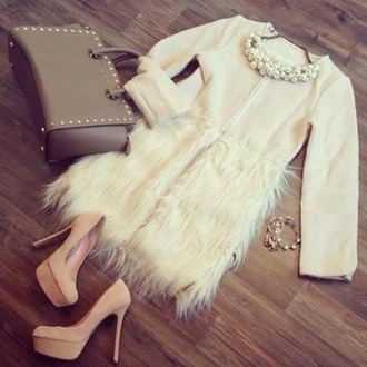 coat faux fur coat faux fur faux fur jacket fashion beige