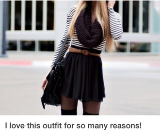 skirt striped tshirt black skirt brown belt black scarf fall outfits fall skirt fall sweater fall scarves belt shirt scarf
