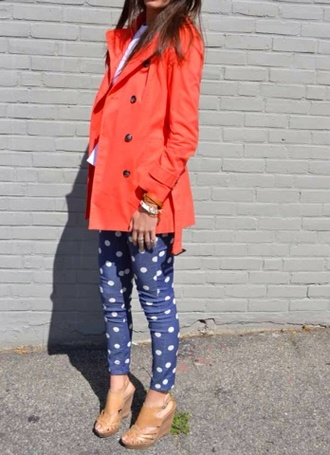 pants skinny pants polka dots orange jacket shoes spring outfits coat