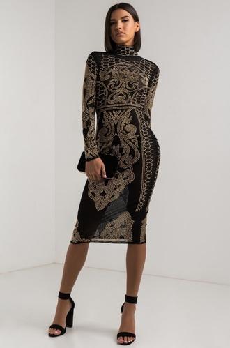 dress black dress gold mesh embroidered embroidered dress black and gold midi dress long sleeves long sleeve dress