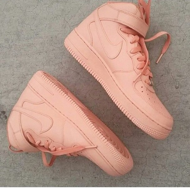 shoes nike air force 1 high nude shoes peach shoes coral shoes nike air force 1 high top nude sneakers pastel sneakers nike nike air force peach coral leather nike air force 1 nike nude air max high top sneakers pink sneakers