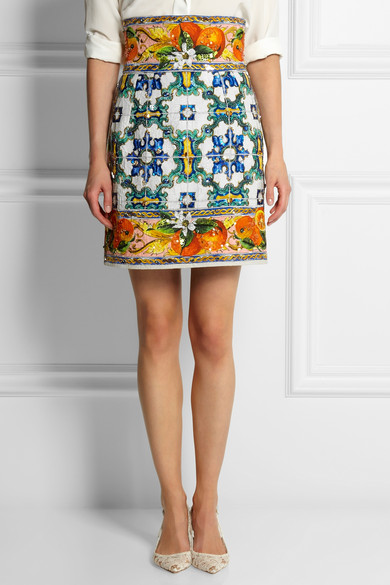 embellished printed jacquard mini skirt