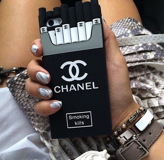 phone cover black chanel smoking kills iphone cover iphone case iphone iphone 5 case iphone 6 case girl girly gossip girl grunge classy spring summer outfits urban