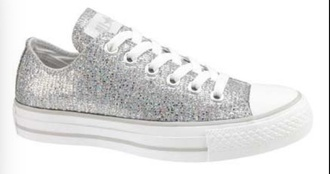 shoes converse chuck taylor all stars sparkly silver