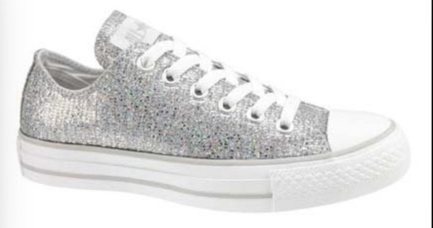 shoes converse chuck taylor all stars sparkle silver