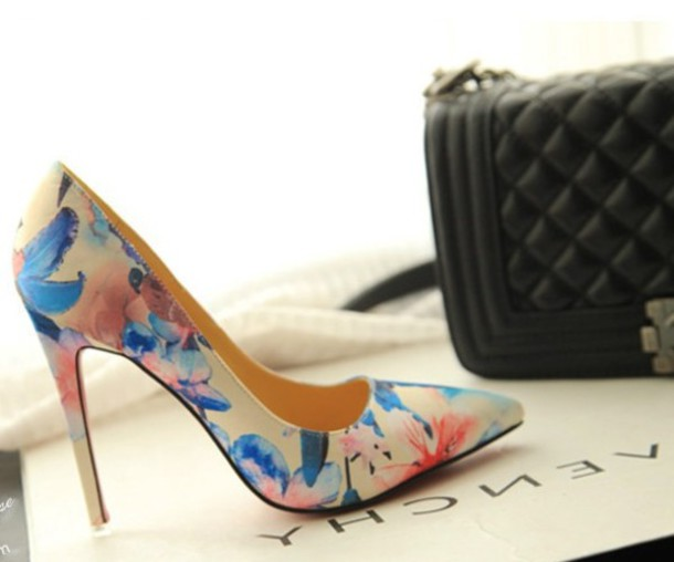 Shoes: high heels, sexy heels, pumps, court shoes, flower ...
