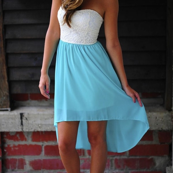 dress teal white high-low dresses high low teal dress blue high low