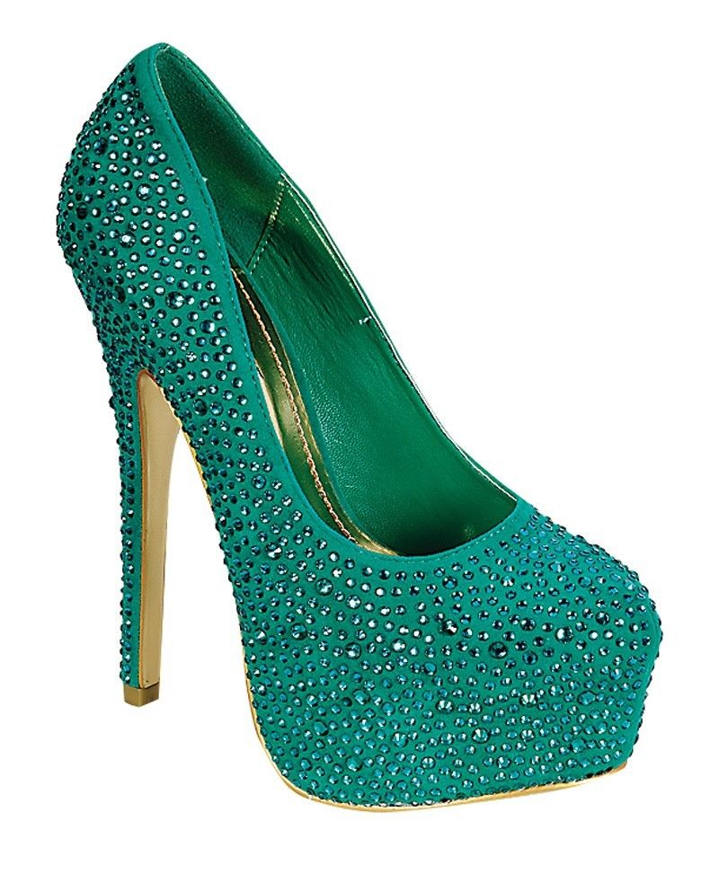 Mascotte Linda 03 High Heel Shoes Stilettos Pumps w/ Rhinestones Sea Green