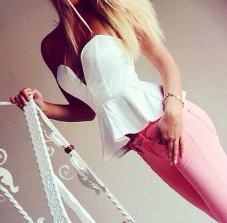 top white top jeans pink jeans denim jewels blonde hair clothes tube top white tube top tube tops white tube tops