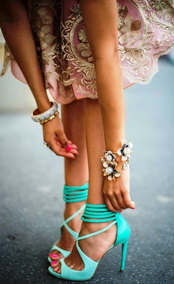 light pink gold embellishments shoes skirt wedding clothes dress high heels mint green aqua high heels strappy sandals fashion mintcolor mintshoes