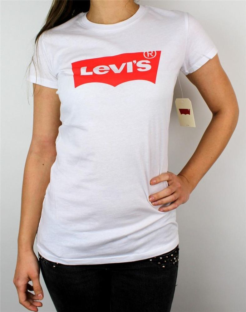 New Levi's Women's Premium Classic Graphic Cotton T Shirt Shirt Tee White | eBay