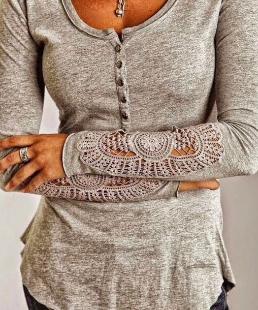 blouse grey sweater lace grey
