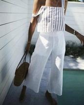 tank top,white,coachella,wide-leg pants