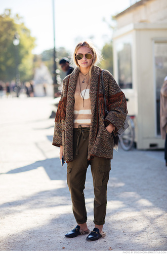 carolines mode blogger oversized coat oversized jacket beige sweater harem pants gucci princetown brown coat sweater aviator sunglasses sunglasses bag gucci gucci bag fringes green pants furry shoes