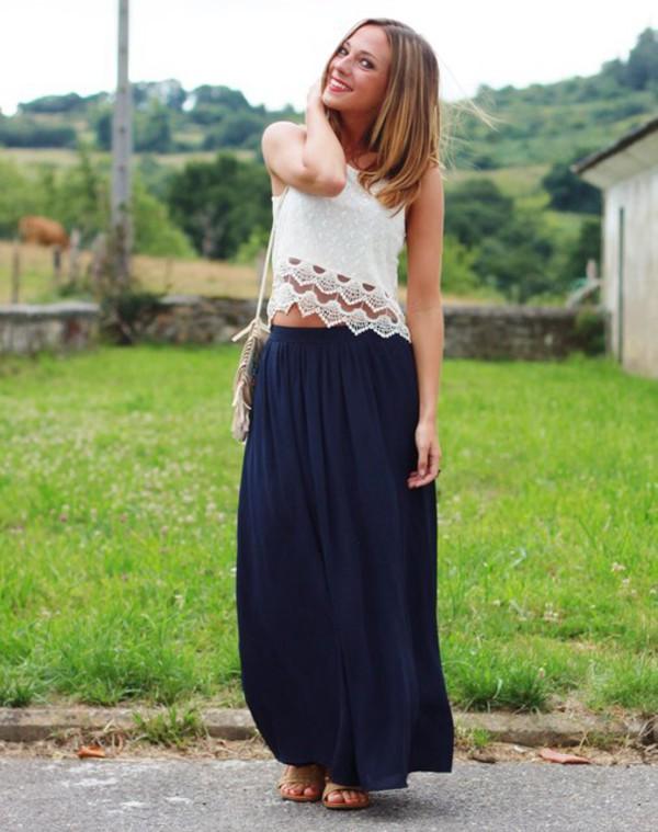 skirt navy maxi skirt