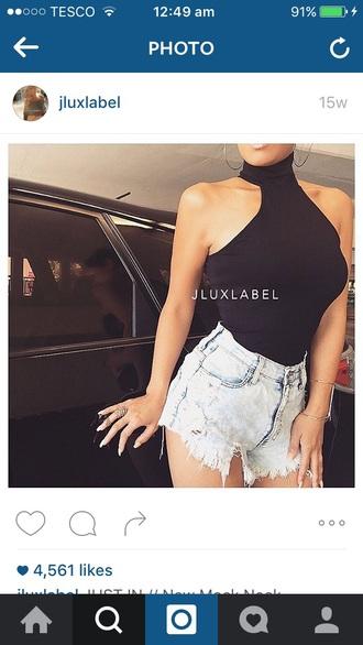 t-shirt black high neck bodysuit turtleneck sleeveless