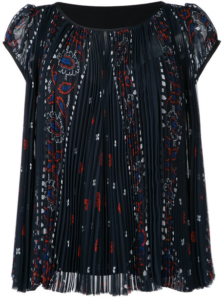 Sacai - pleated printed top - women - Cotton/Polyester/Cupro - 2, Blue, Cotton/Polyester/Cupro