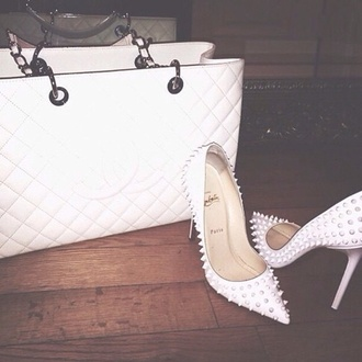 white shoes quilted bag studded shoes all white everything white bag pointed toe stilettos