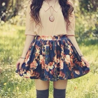 skirt floral beige dress beige peter pan collar statement necklace bracelets cute fall outfits blouse jewels
