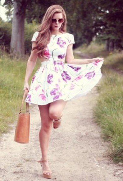 dress flowy white dress floral skater dress beautiful dress short dress cute dress