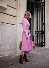 dress,midi dress,pink dress,long sleeves,boots,red,red boots,bag,long sleeve dress,crossbody bag