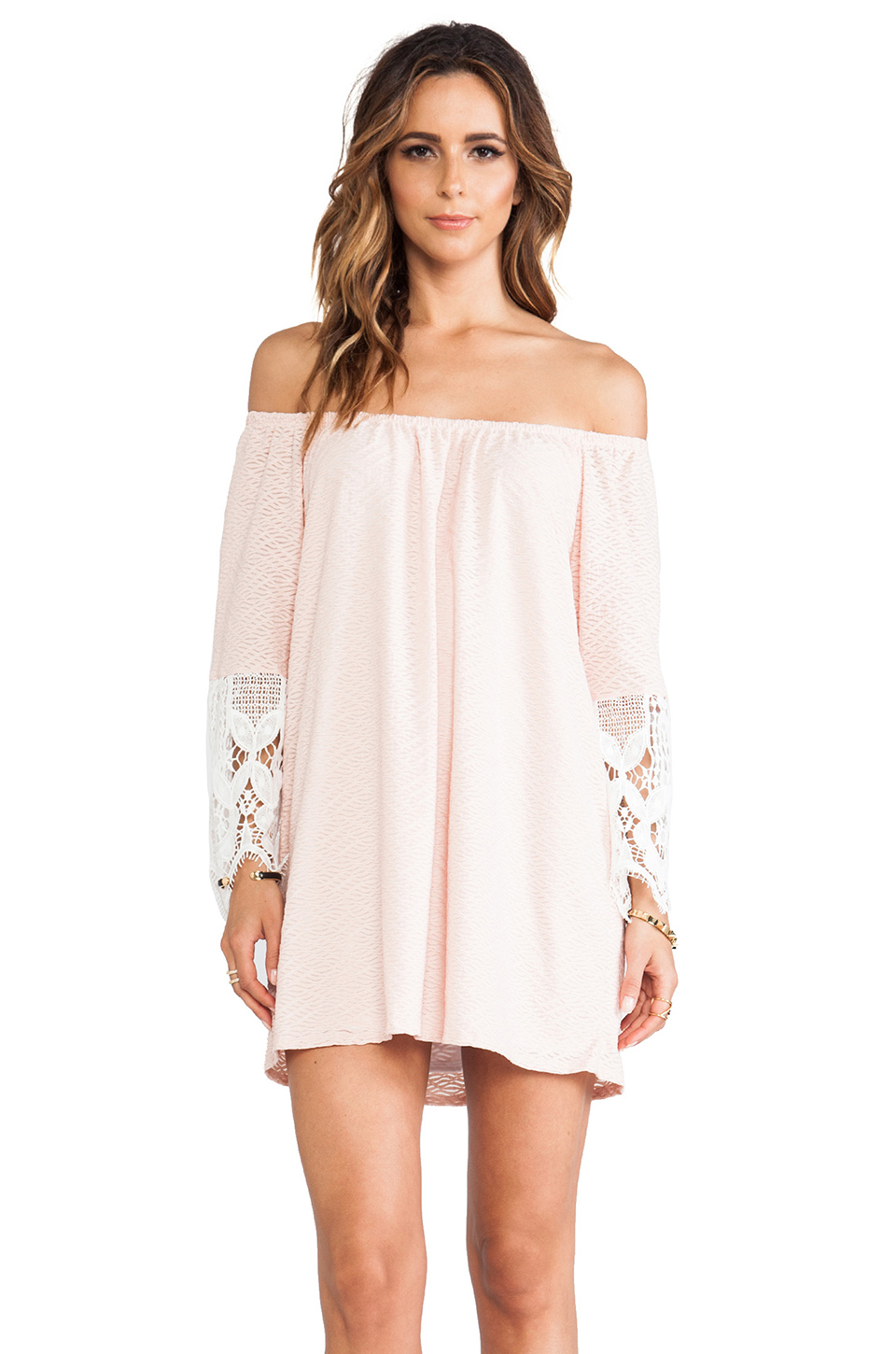 VAVA by Joy Han Caitlyn Off Shoulder Dress in Peach from REVOLVEclothing.com