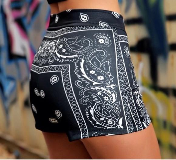 elastic black bandanna bandanna pants bandana print shorts white black and white leather look shorts trendy popular