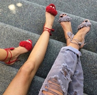 shoes grey sandals sandals aquazzura sandals aquazzura red sandals red high heels red high heel sandals high heel sandals jeans grey jeans ripped jeans fringe shoes fringes fringed sandals