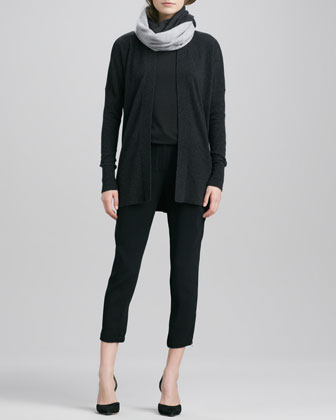 Vince Long Open Cashmere Cardigan, Boat-Neck Long-Sleeve Tee, Stretch Wool Harem Pants & Colorblock Loop Scarf - Neiman Marcus