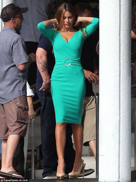 dress sofia vergara turquoise dress long sleeved dress