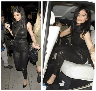 pants top leather kylie jenner purse pumps all black everything leggings